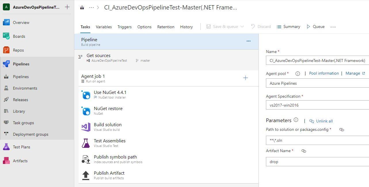 Azure DevOps settings - ASP.NET Core web application that targets the full .NET Framework.